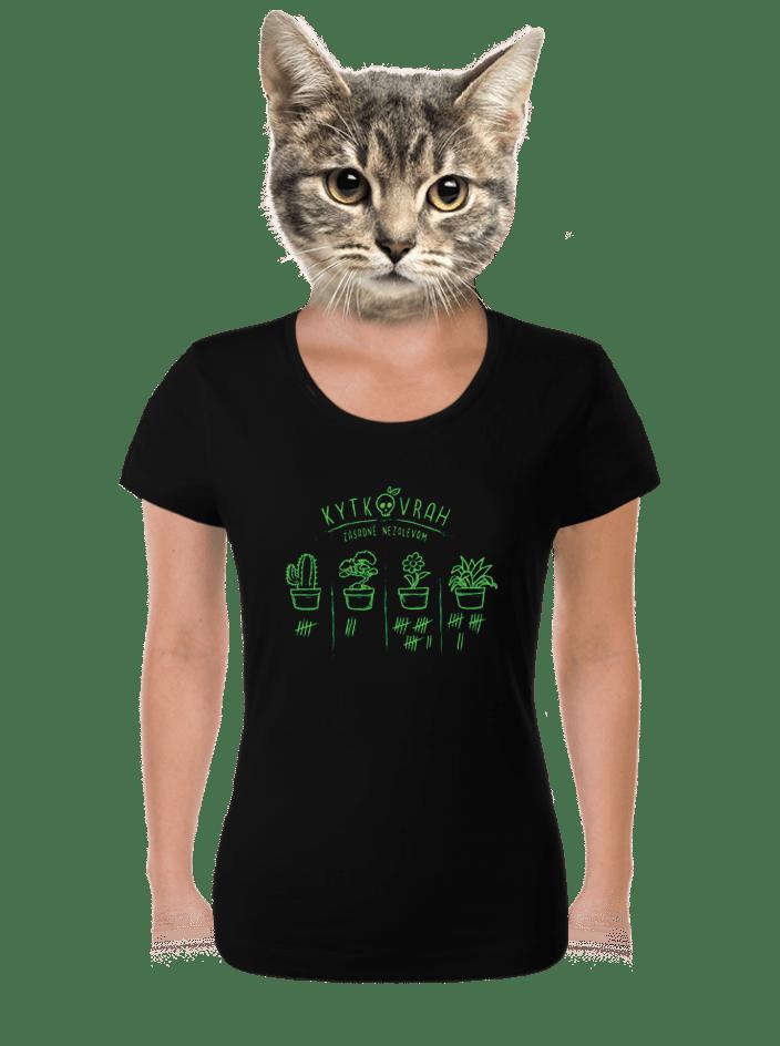 Kytkovrah čierne dámske tričko