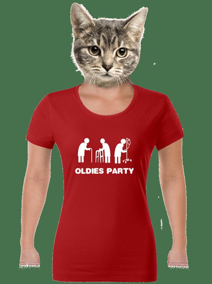 Oldies party červené dámske tričko