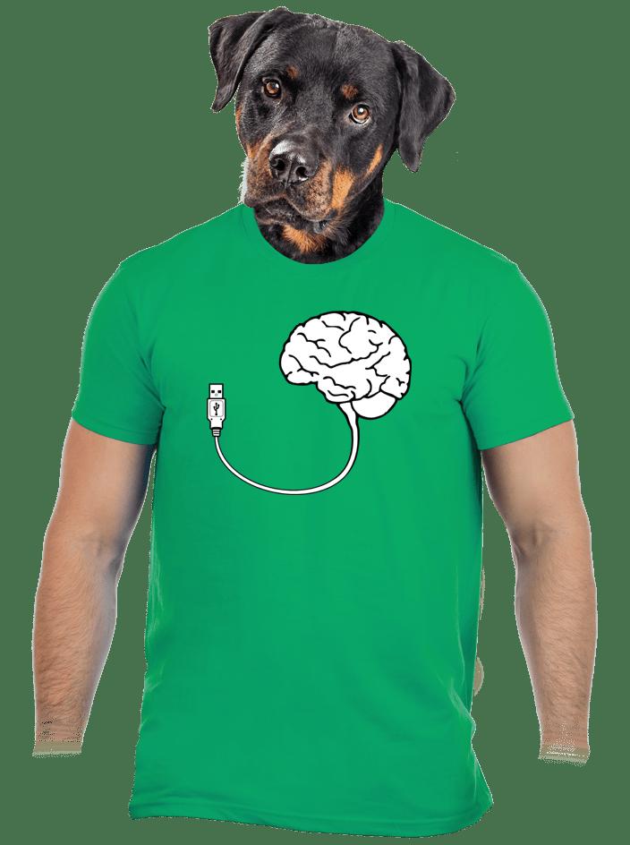 USB mozog zelené pánske tričko