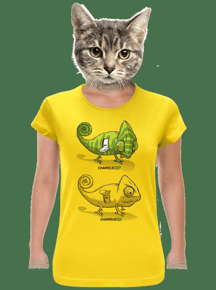 Zapnuté vypnuté žlté dámske tričko