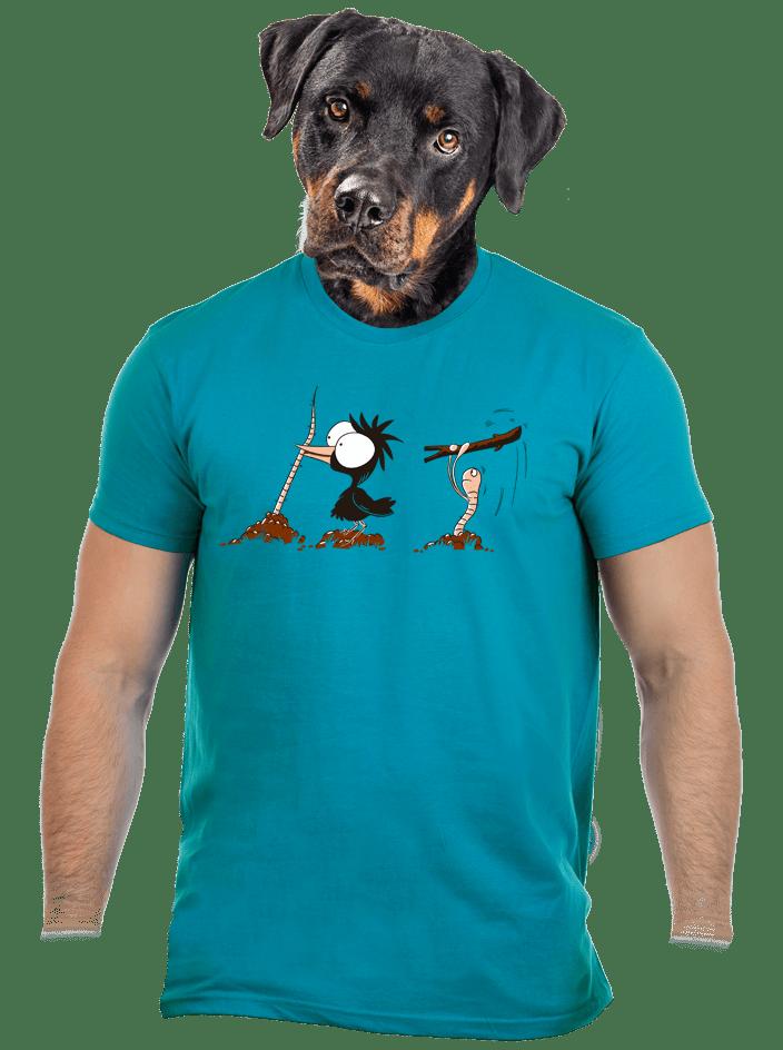 Nesprávny koniec modré pánske tričko