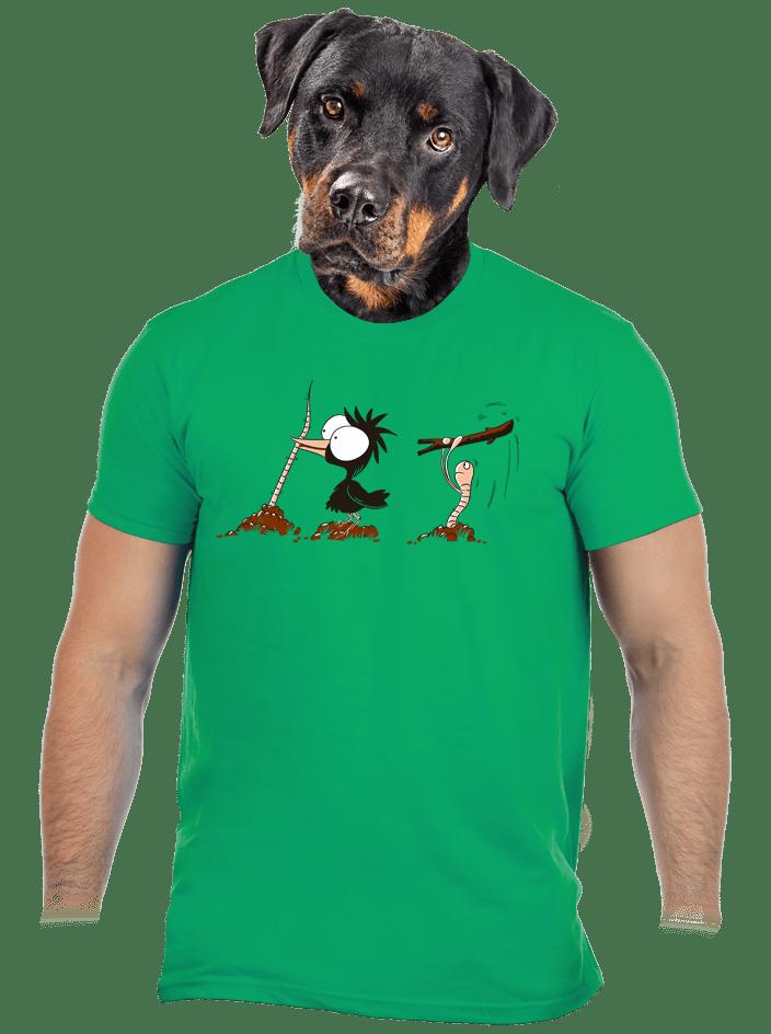 Nesprávny koniec zelené pánske tričko