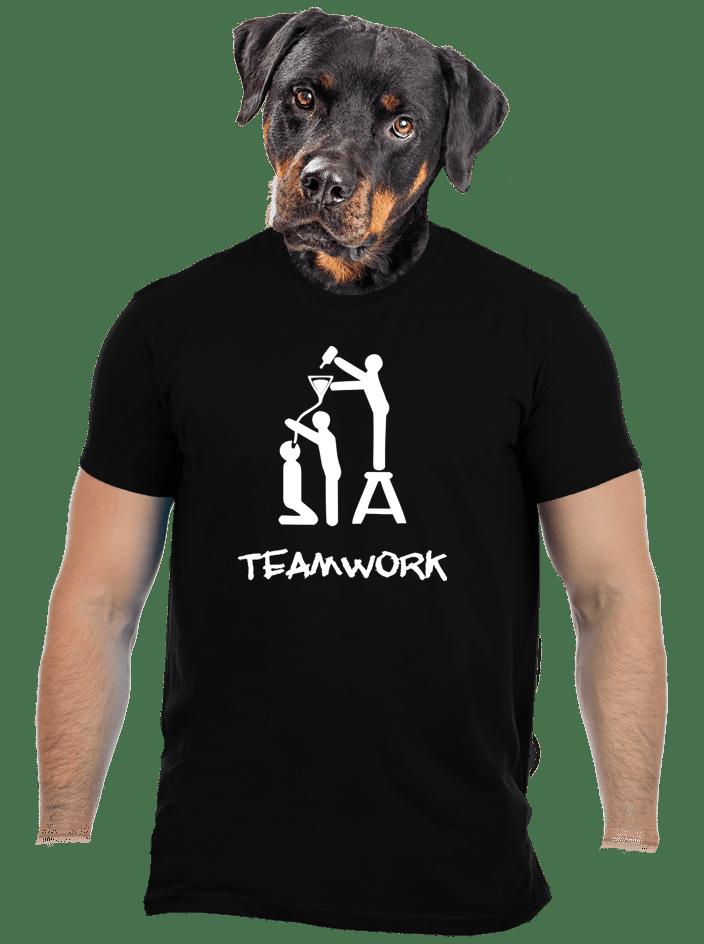 Teamwork čierne pánske tričko