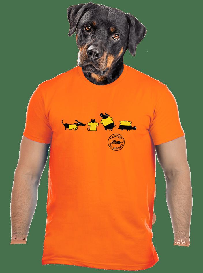 Testované oranžové pánske tričko