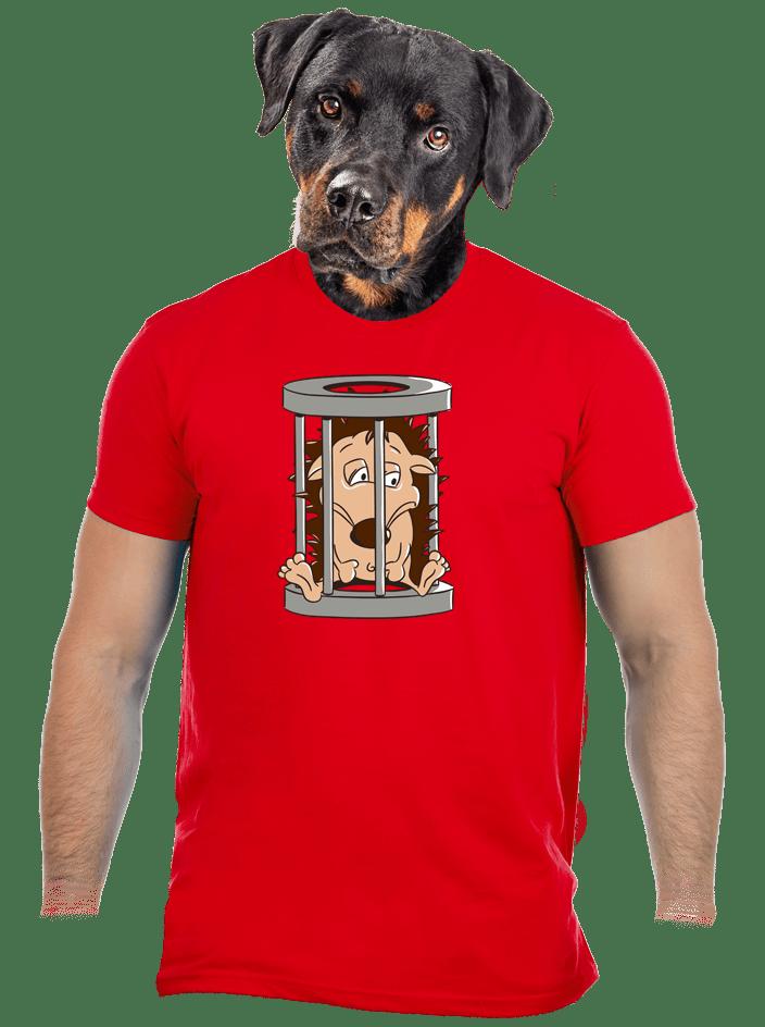 Ježko v klietke červené pánske tričko